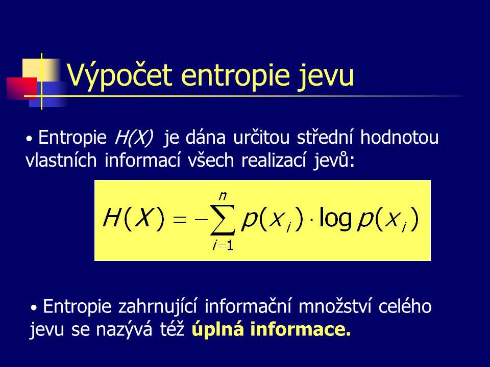 Výpočet entropie jevu Entropie H(X) je dána určitou střední hodnotou vlastních informací všech realizací jevů: