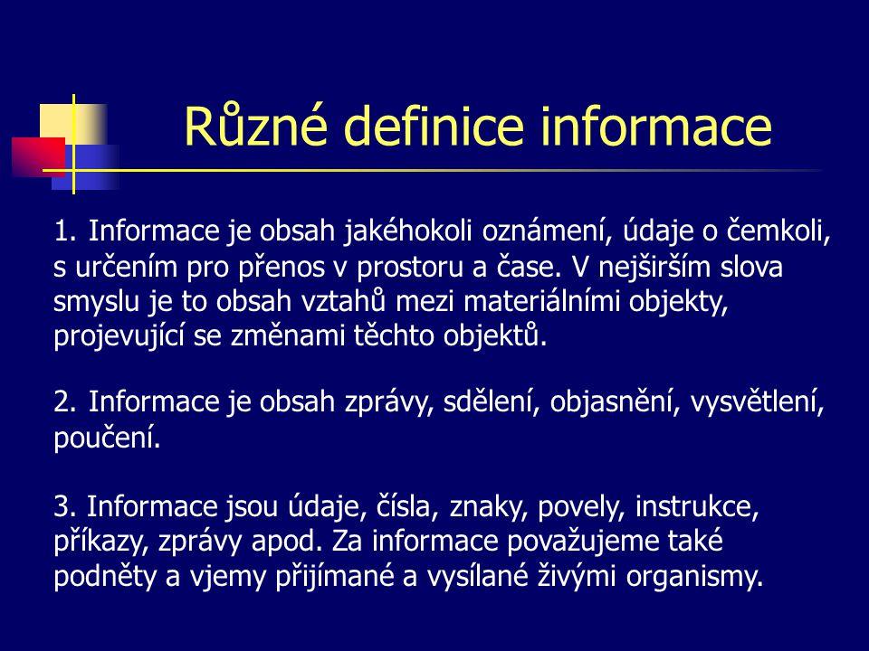 Různé definice informace