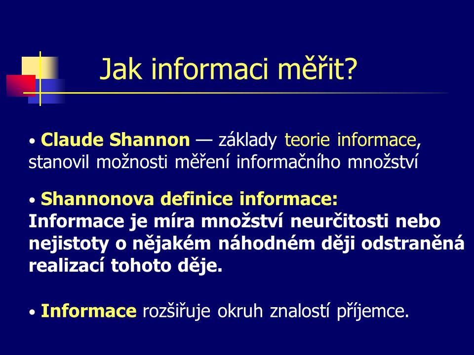 Jak informaci měřit Claude Shannon — základy teorie informace, stanovil možnosti měření informačního množství.