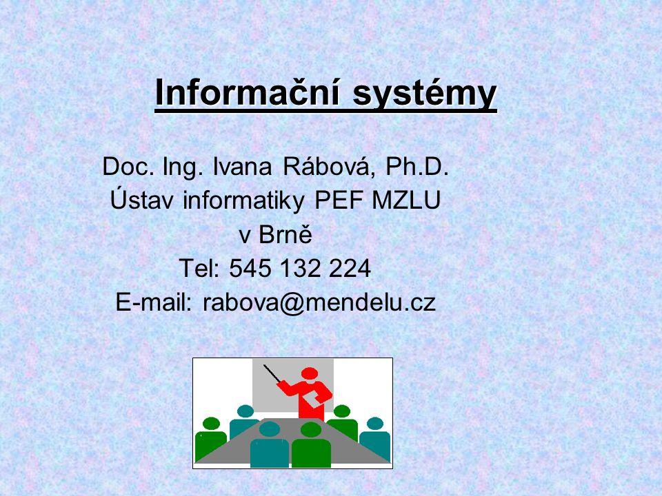 Informační systémy Doc. Ing. Ivana Rábová, Ph.D.