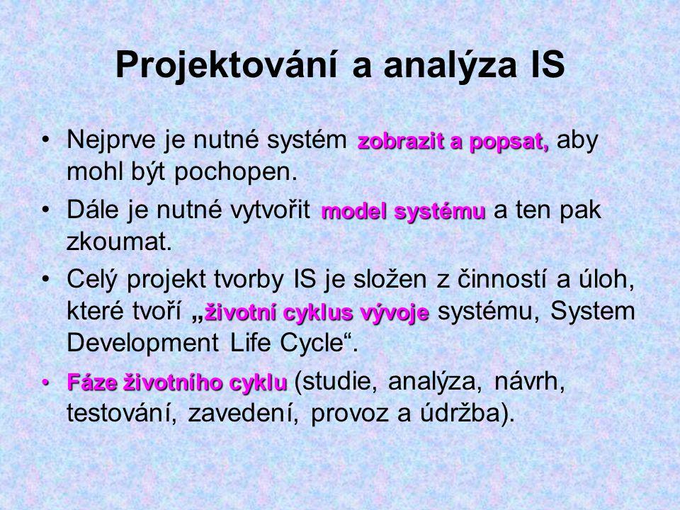 Projektování a analýza IS
