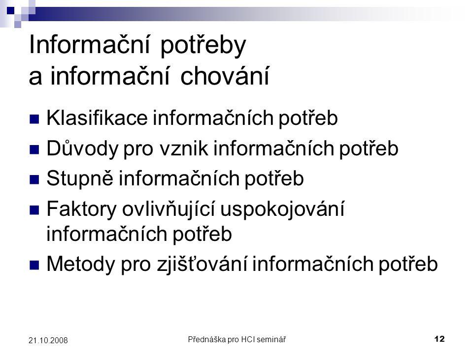 Informační potřeby a informační chování