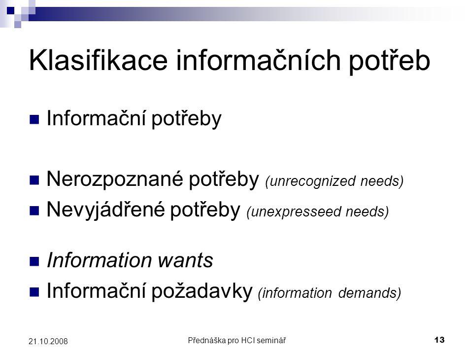 Klasifikace informačních potřeb