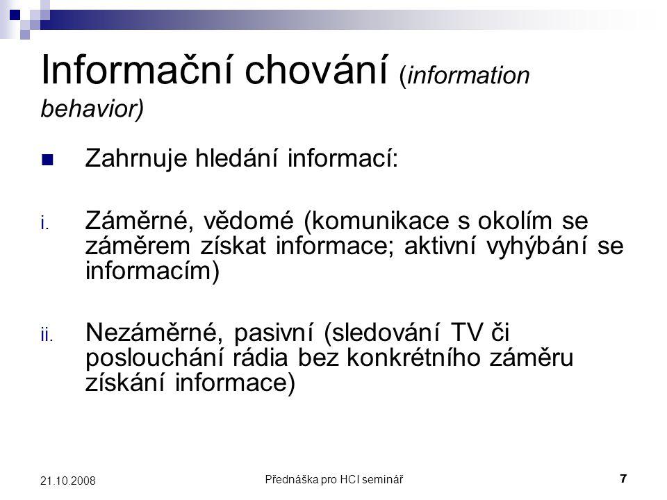 Informační chování (information behavior)