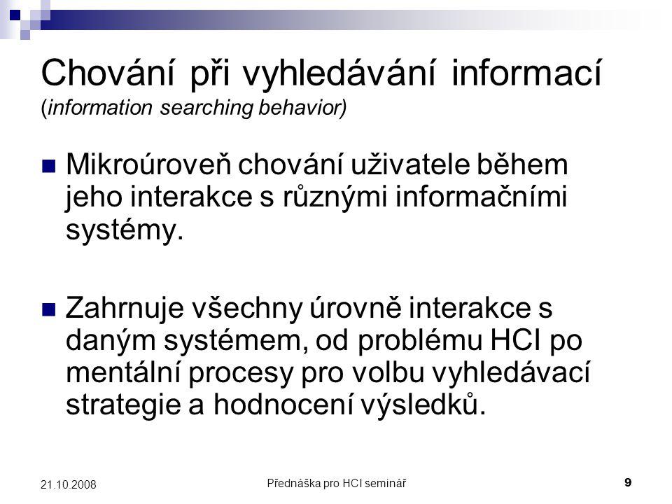 Chování při vyhledávání informací (information searching behavior)