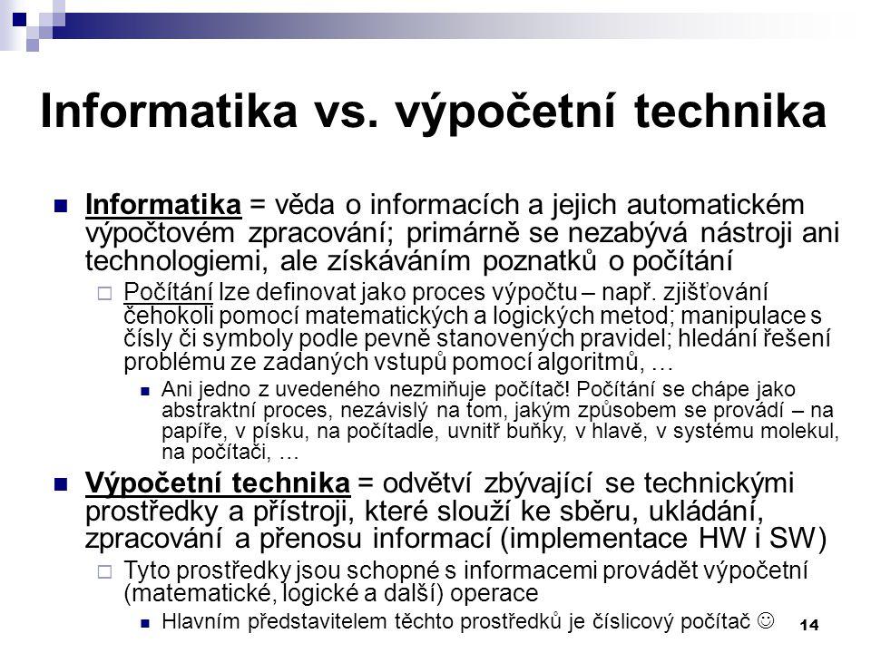 Informatika vs. výpočetní technika