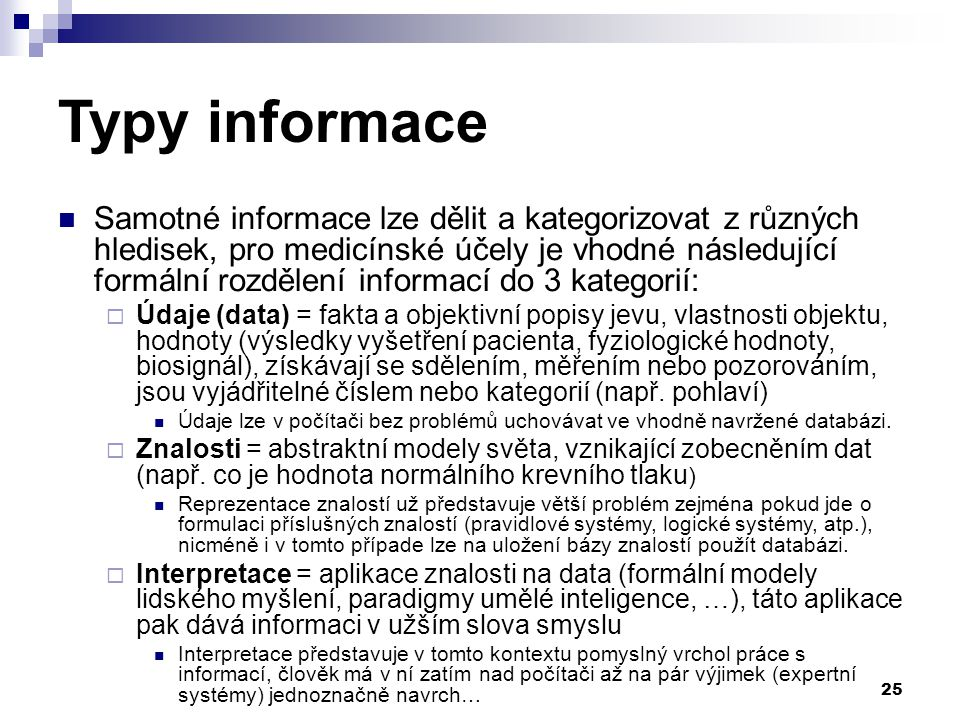 Typy informace