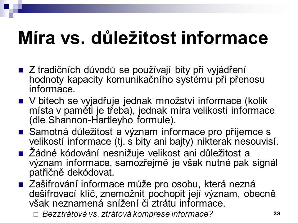Míra vs. důležitost informace