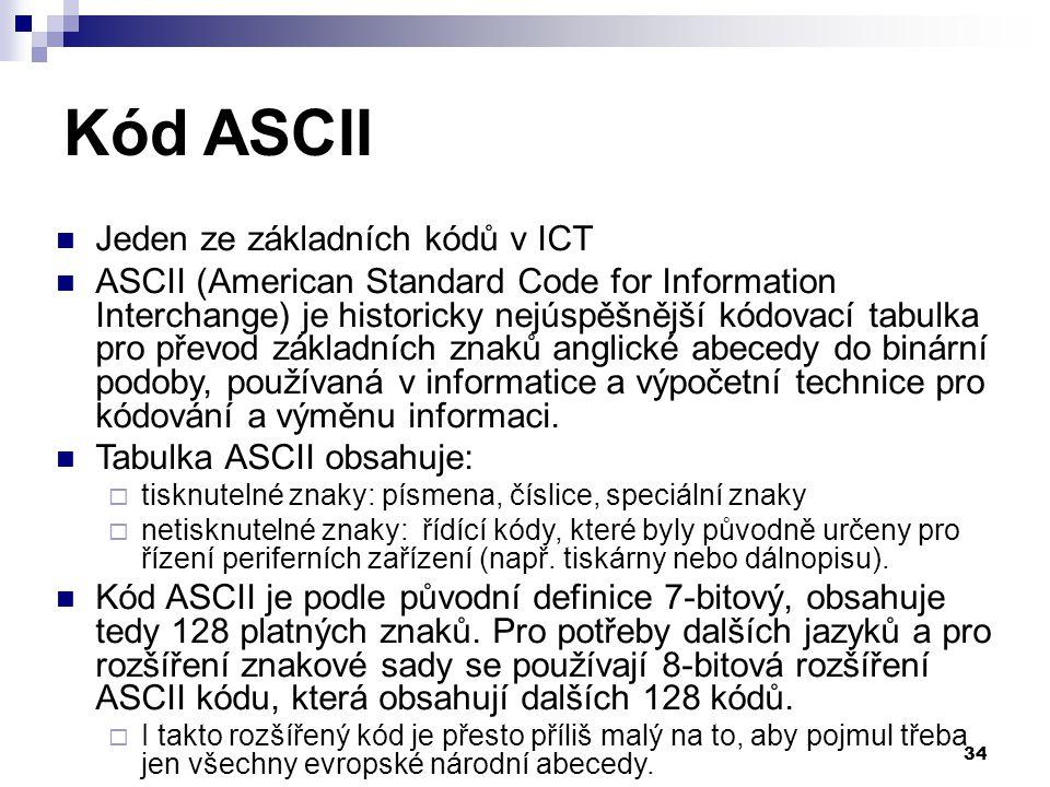Kód ASCII Jeden ze základních kódů v ICT