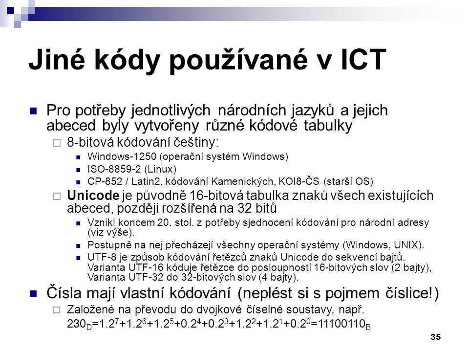 Jiné kódy používané v ICT