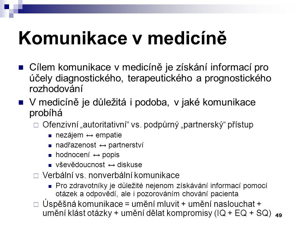 Komunikace v medicíně Cílem komunikace v medicíně je získání informací pro účely diagnostického, terapeutického a prognostického rozhodování.