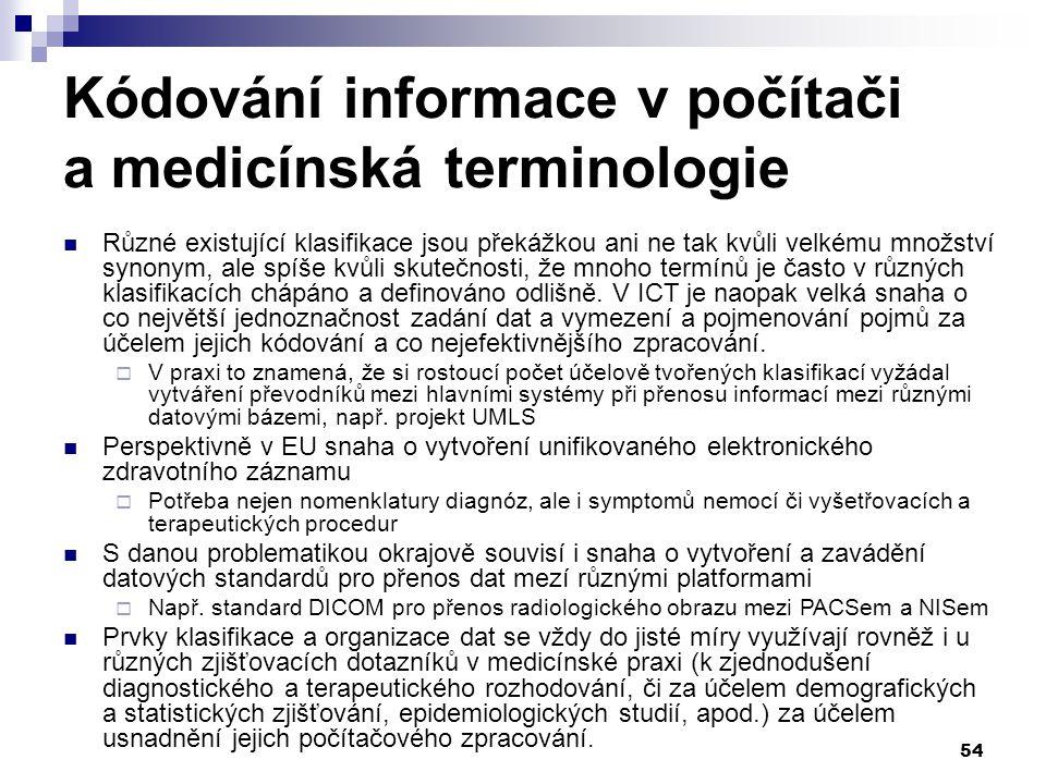 Kódování informace v počítači a medicínská terminologie