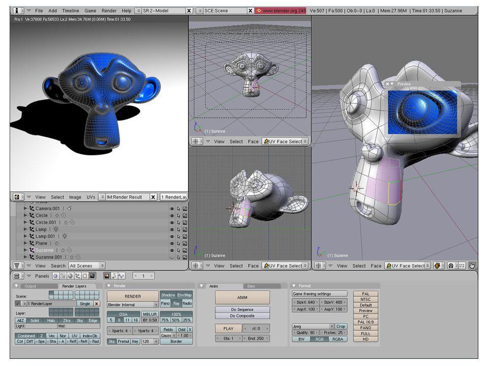 Uživatelské rozhraní vizualizačního 3D grafického sofwaru Blender, vhodného k modelování a simulaci.