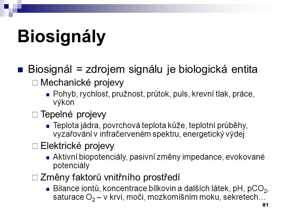 Biosignály Biosignál = zdrojem signálu je biologická entita