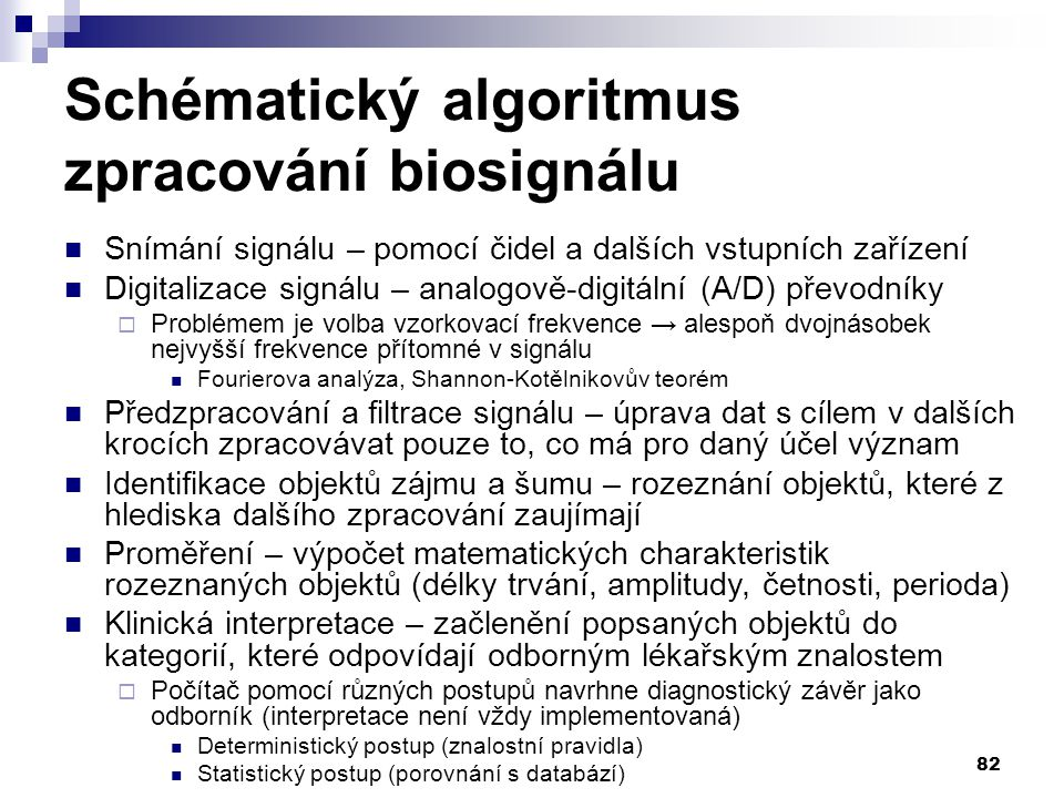Schématický algoritmus zpracování biosignálu