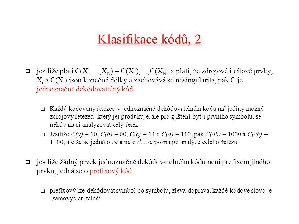 Klasifikace kódů, 2