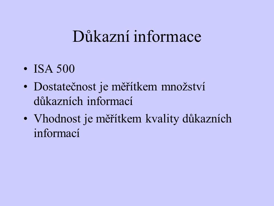 Důkazní informace ISA 500. Dostatečnost je měřítkem množství důkazních informací.