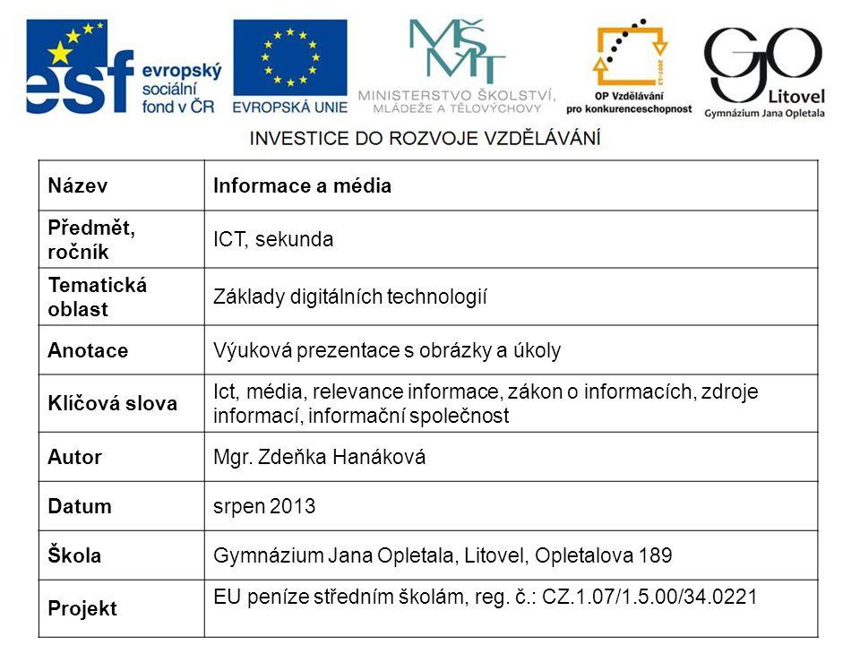 Název Informace a média. Předmět, ročník. ICT, sekunda. Tematická oblast. Základy digitálních technologií.