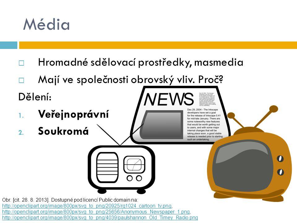 Média Hromadné sdělovací prostředky, masmedia
