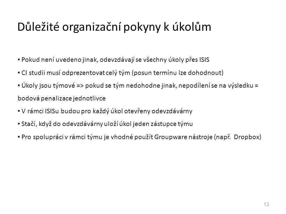 Důležité organizační pokyny k úkolům