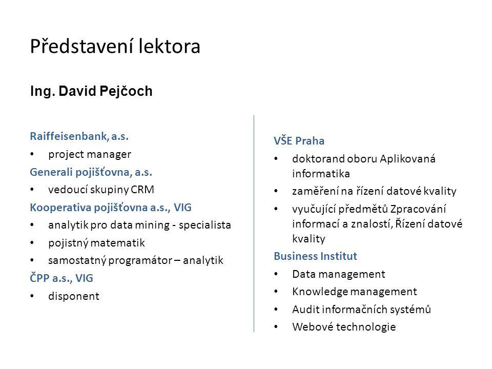 Představení lektora Ing. David Pejčoch Raiffeisenbank, a.s.