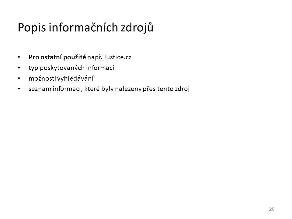 Popis informačních zdrojů
