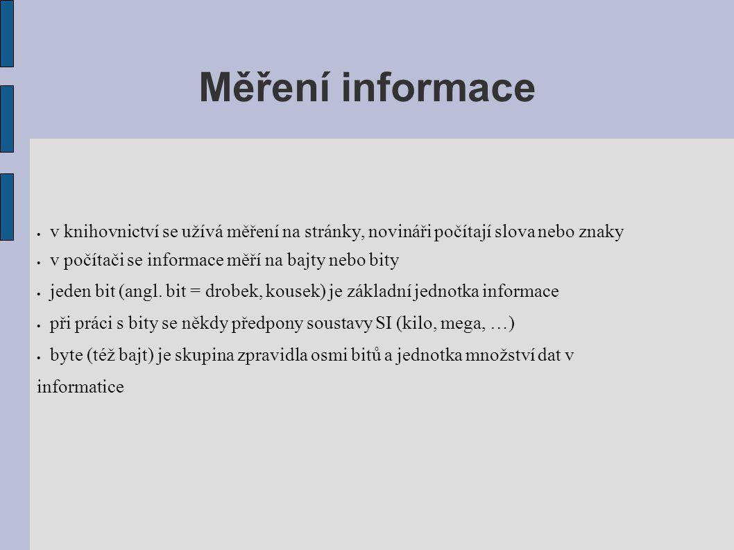 Měření informace v knihovnictví se užívá měření na stránky, novináři počítají slova nebo znaky. v počítači se informace měří na bajty nebo bity.