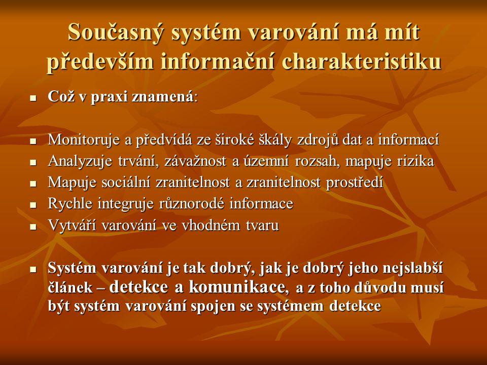 Současný systém varování má mít především informační charakteristiku