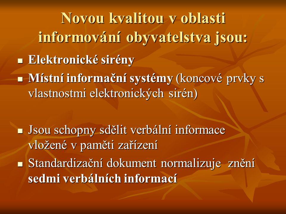 Novou kvalitou v oblasti informování obyvatelstva jsou: