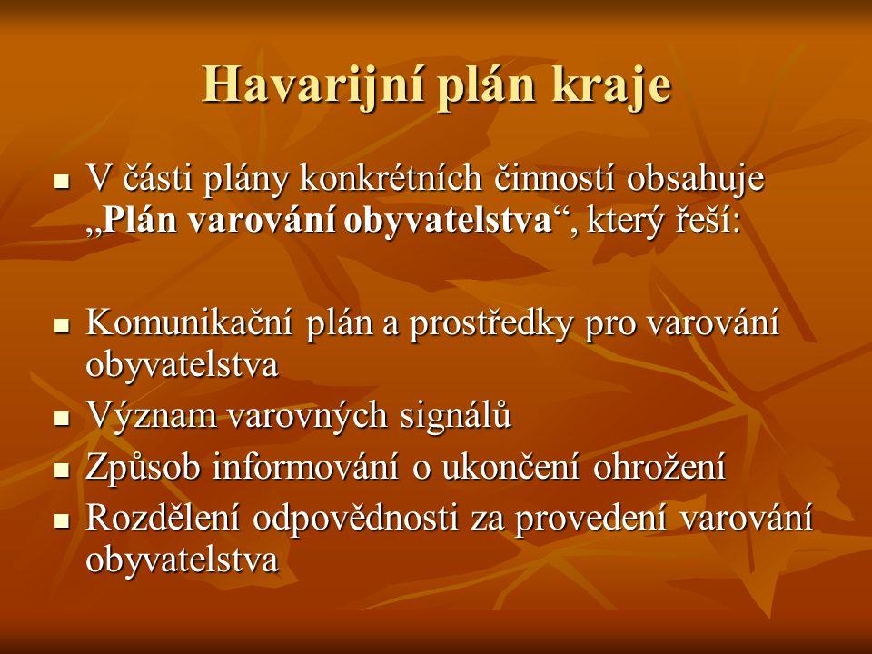 """Havarijní plán kraje V části plány konkrétních činností obsahuje """"Plán varování obyvatelstva , který řeší:"""