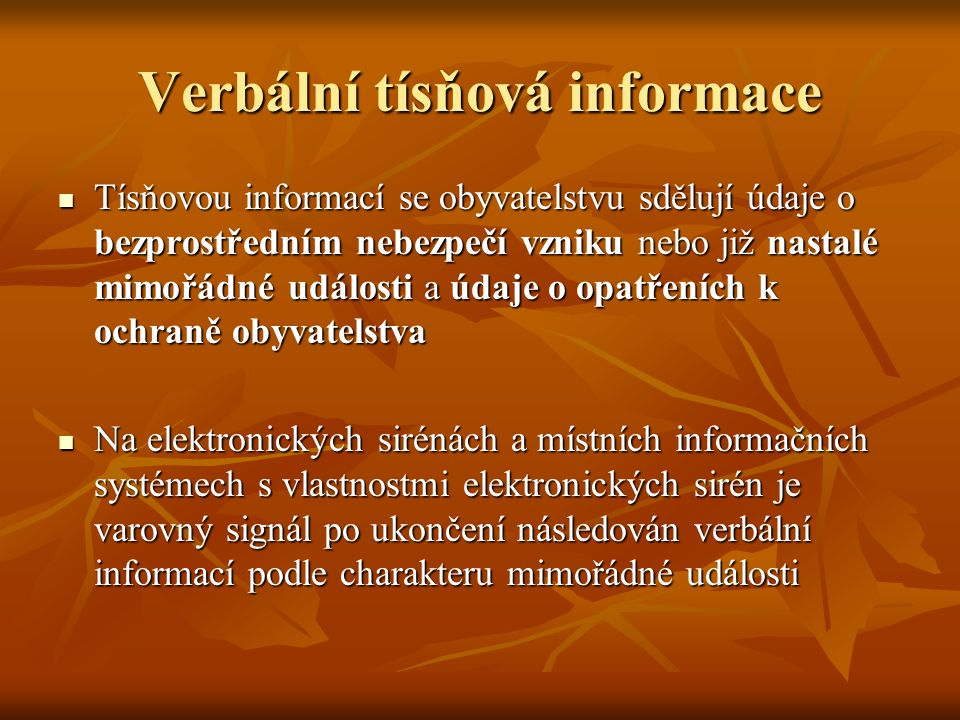Verbální tísňová informace