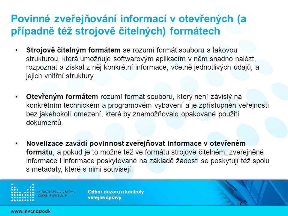 Povinné zveřejňování informací v otevřených (a případně též strojově čitelných) formátech