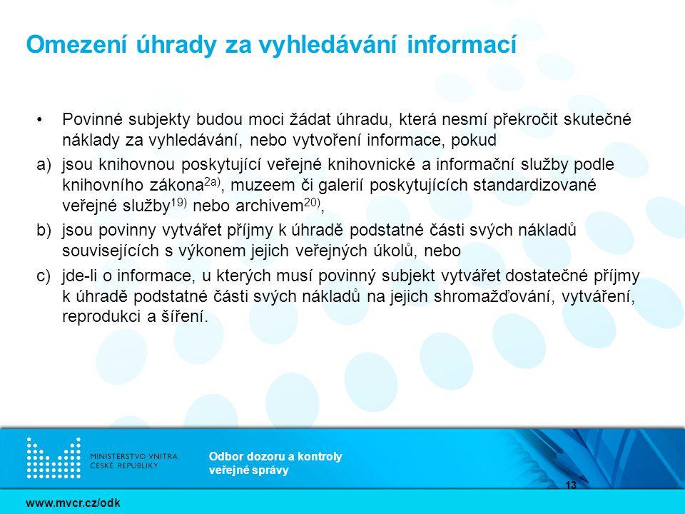 Omezení úhrady za vyhledávání informací