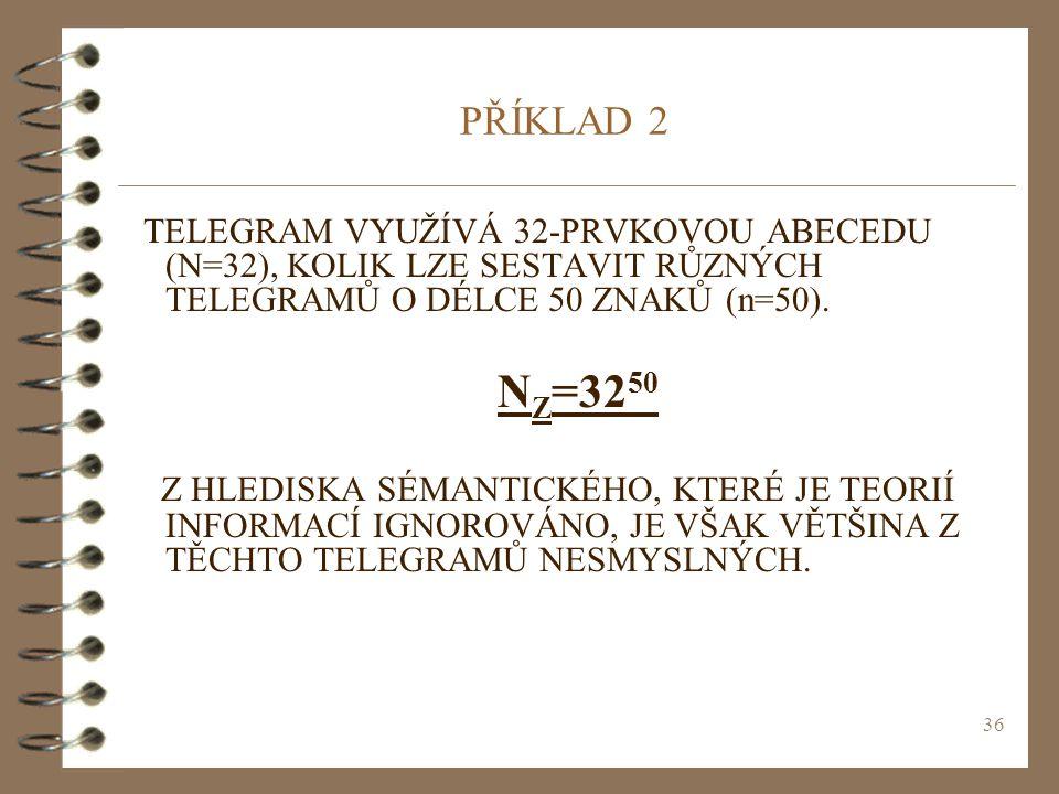 PŘÍKLAD 2 TELEGRAM VYUŽÍVÁ 32-PRVKOVOU ABECEDU (N=32), KOLIK LZE SESTAVIT RŮZNÝCH TELEGRAMŮ O DÉLCE 50 ZNAKŮ (n=50).