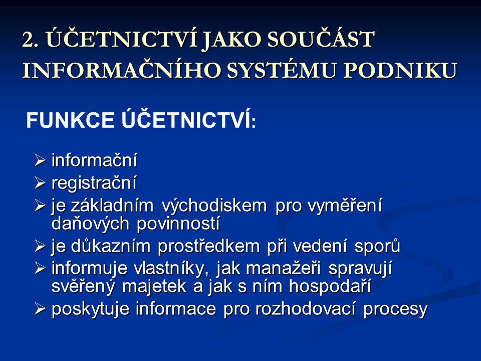 2. ÚČETNICTVÍ JAKO SOUČÁST INFORMAČNÍHO SYSTÉMU PODNIKU