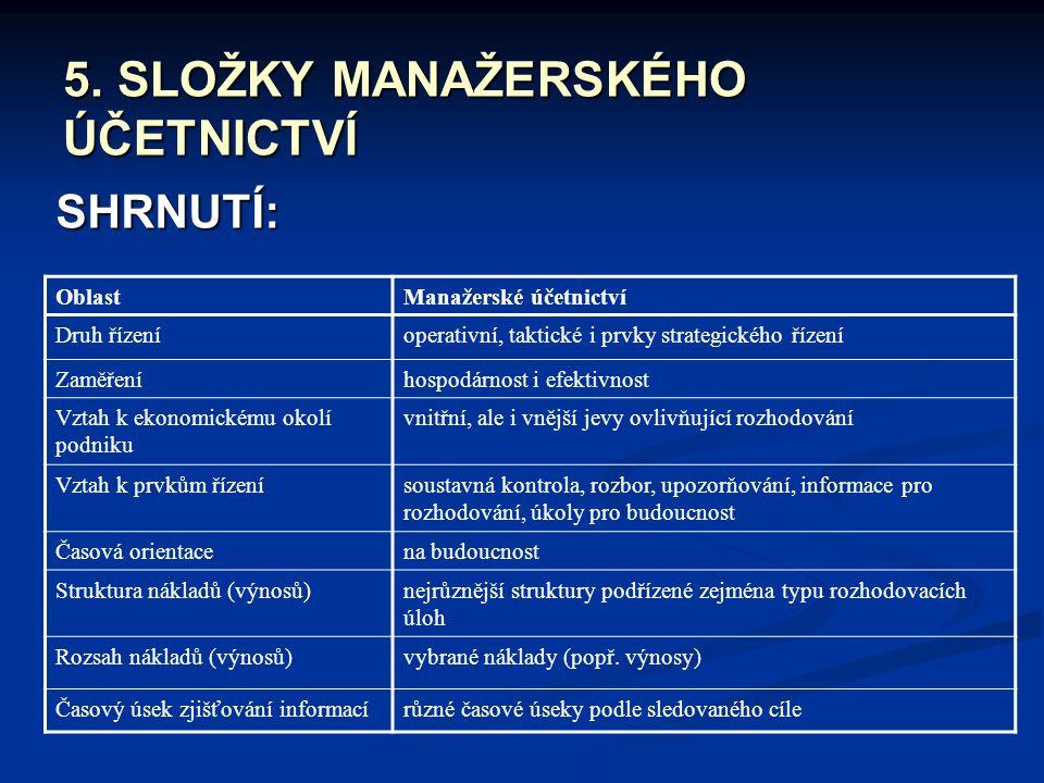 5. SLOŽKY MANAŽERSKÉHO ÚČETNICTVÍ