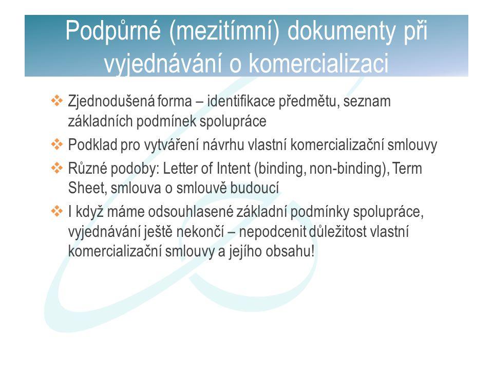 Podpůrné (mezitímní) dokumenty při vyjednávání o komercializaci
