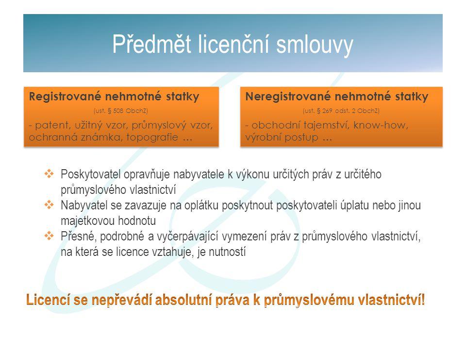 Předmět licenční smlouvy