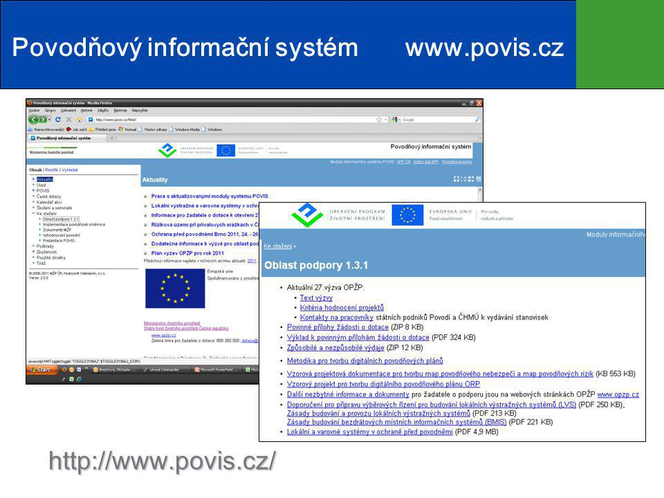 http://www.povis.cz/ Povodňový informační systém www.povis.cz
