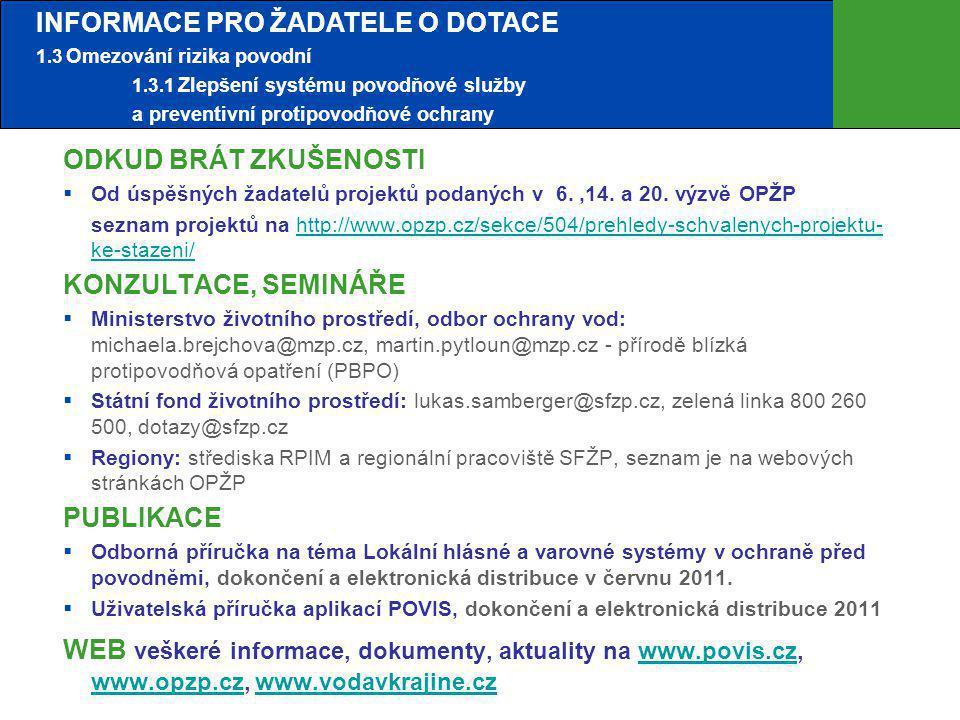 INFORMACE PRO ŽADATELE O DOTACE 1. 3 Omezování rizika povodní. 1. 3