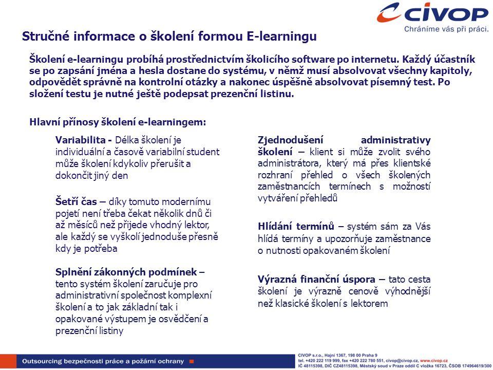 Stručné informace o školení formou E-learningu