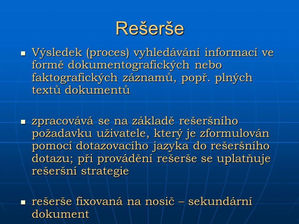 Rešerše Výsledek (proces) vyhledávání informací ve formě dokumentografických nebo faktografických záznamů, popř. plných textů dokumentů.
