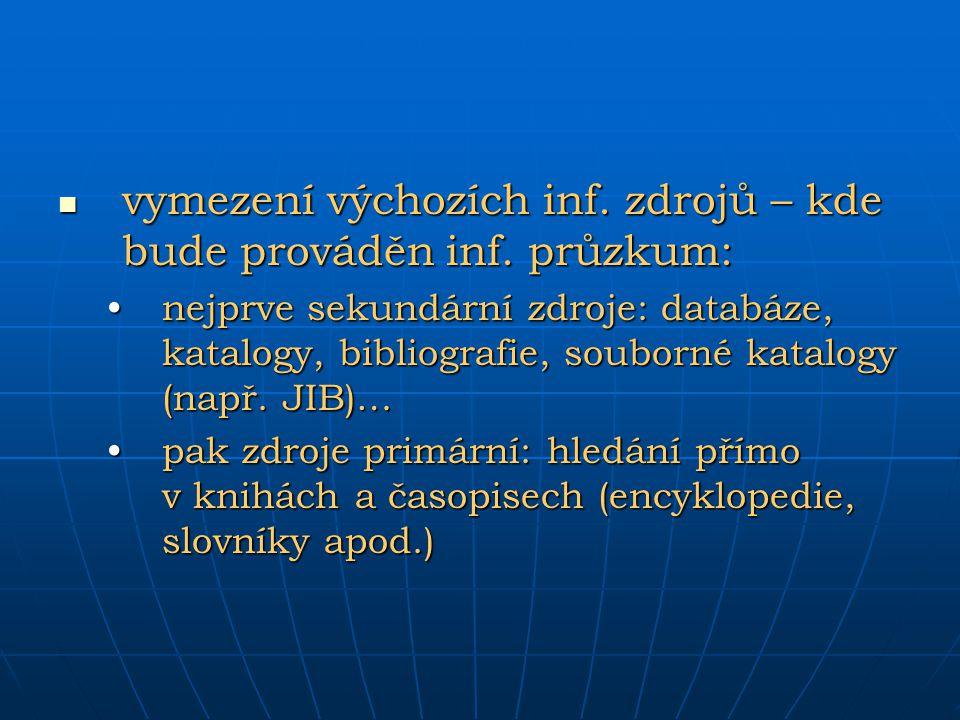 vymezení výchozích inf. zdrojů – kde bude prováděn inf. průzkum:
