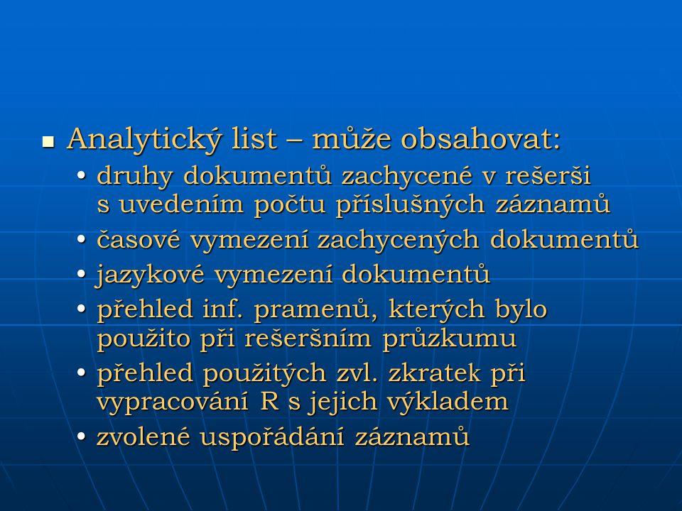 Analytický list – může obsahovat: