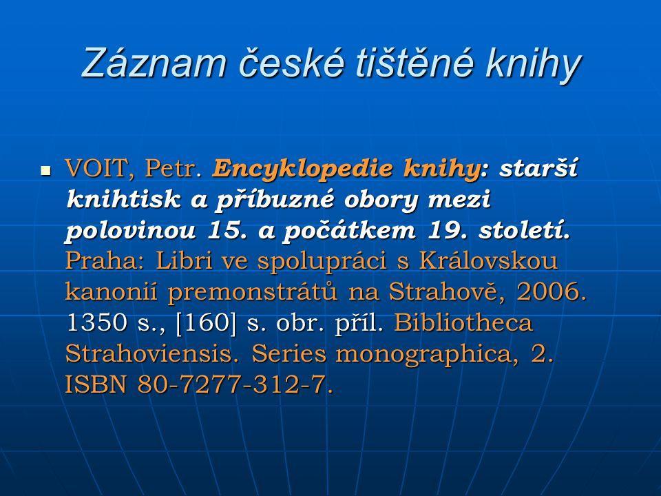 Záznam české tištěné knihy