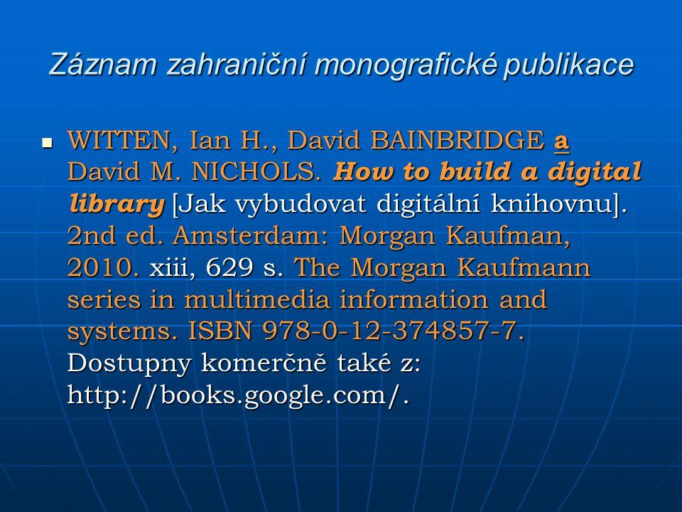 Záznam zahraniční monografické publikace