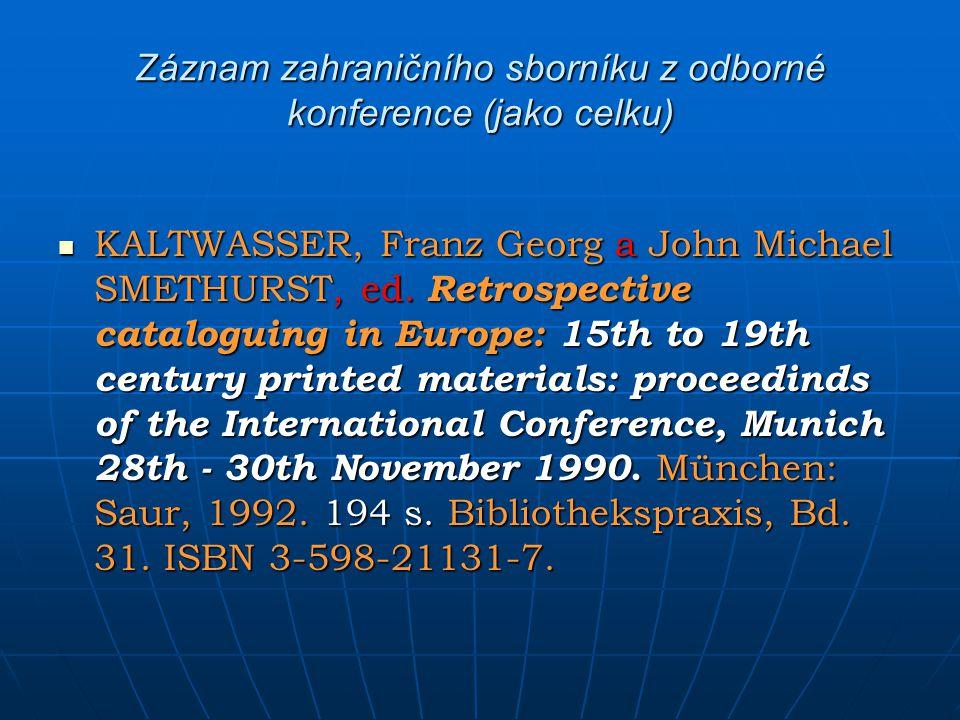 Záznam zahraničního sborníku z odborné konference (jako celku)