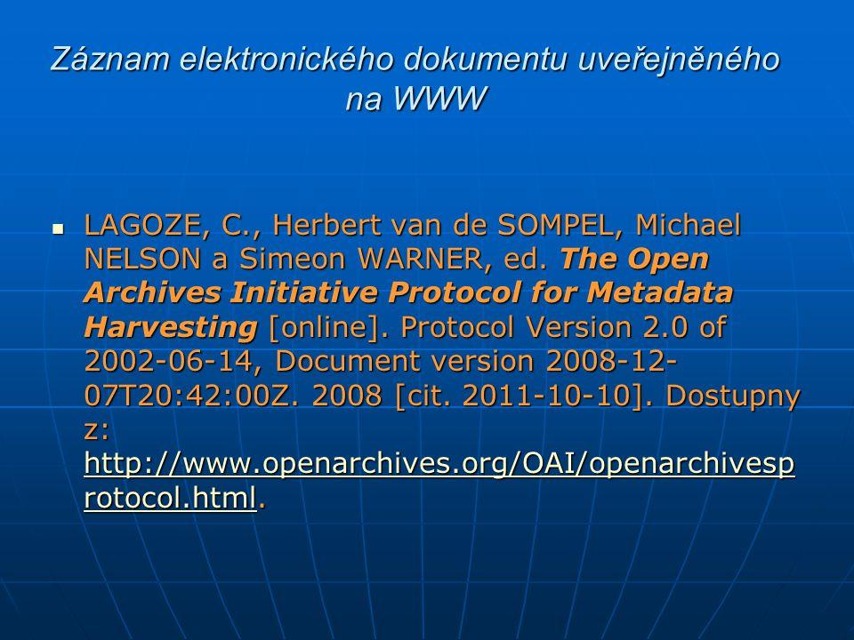 Záznam elektronického dokumentu uveřejněného na WWW