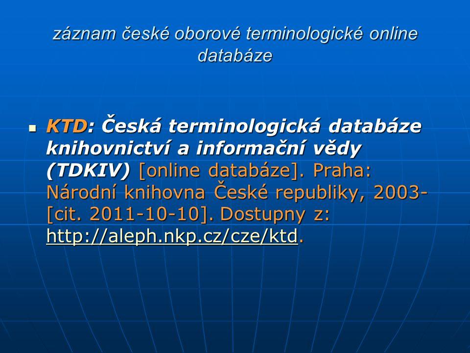 záznam české oborové terminologické online databáze