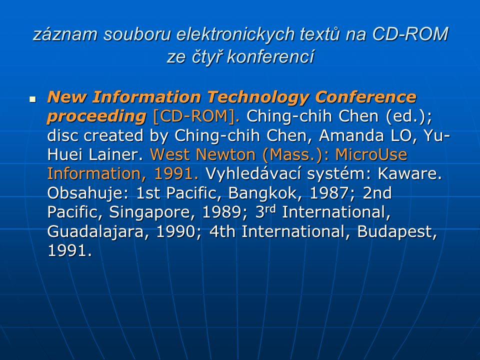 záznam souboru elektronickych textů na CD-ROM ze čtyř konferencí